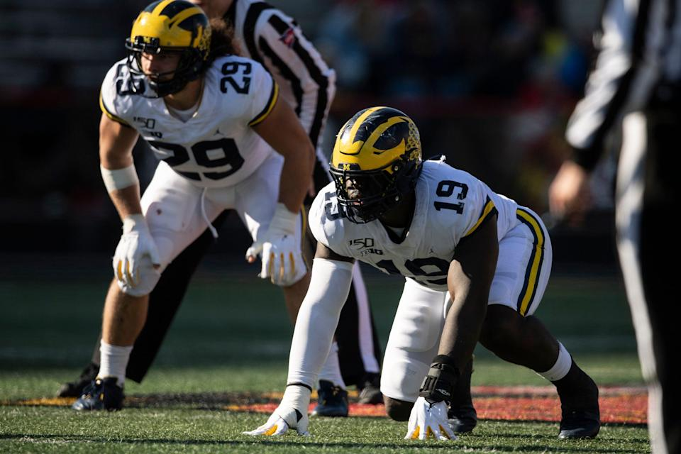 Kwity Paye lines up during Michigan's game against Maryland on Nov. 2, 2019.