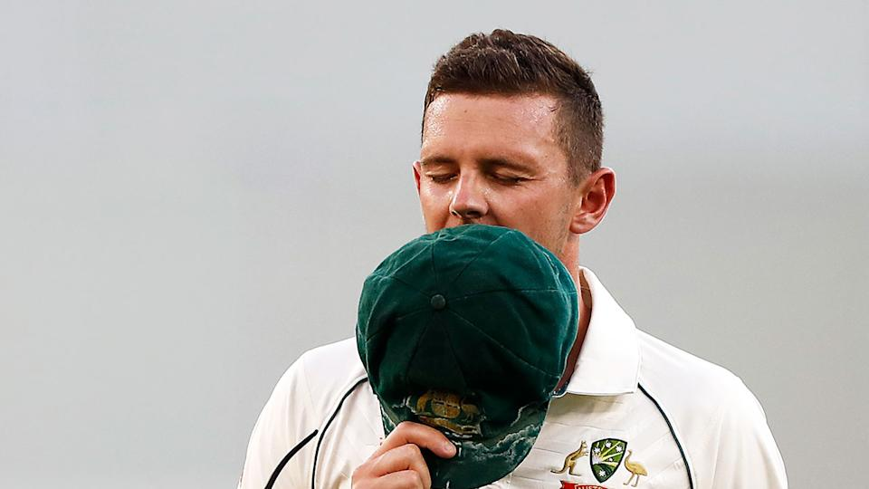 Seen here, Josh Hazlewood suffered a hamstring injury on day two in Perth.