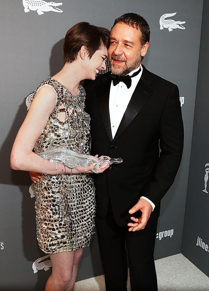 BEVERLY HILLS, CA - FEBRUARY 19:  Actors Anne Hathaway (L) and Russell Crowe attend the 15th Annual Costume Designers Guild Awards with presenting sponsor Lacoste at The Beverly Hilton Hotel on February 19, 2013 in Beverly Hills, California.  (Photo by Christopher Polk/Getty Images for CDG)