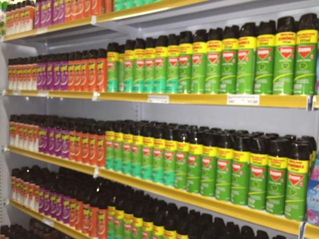 Stores are well-stocked with insect repellent as the threat of Zika looms in Brazil.