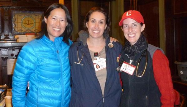 """<b class=""""credit"""">Courtesy Sharon See</b>(L-R) Sharon See, Dana Spivak and Maureen Thyne saw a need and set up an emergency prescription system in Hoboken City Hall during Superstorm Sandy."""