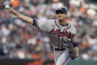 Atlanta Braves' Charlie Morton pitches against the San Francisco Giants during the first inning of a baseball game in San Francisco, Saturday, Sept. 18, 2021. (AP Photo/Jeff Chiu)