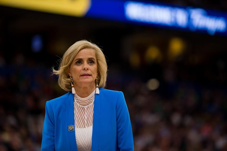 TAMPA, FL - APRIL 07: Baylor head coach Kim Mulkey looks on in the NCAA Division I Women's National Championship Game between the Baylor Bears and the Notre Dame Fighting Irish on April 07, 2019, at Amalie Arena in Tampa, Florida. (Photo by Mary Holt/Icon Sportswire via Getty Images)