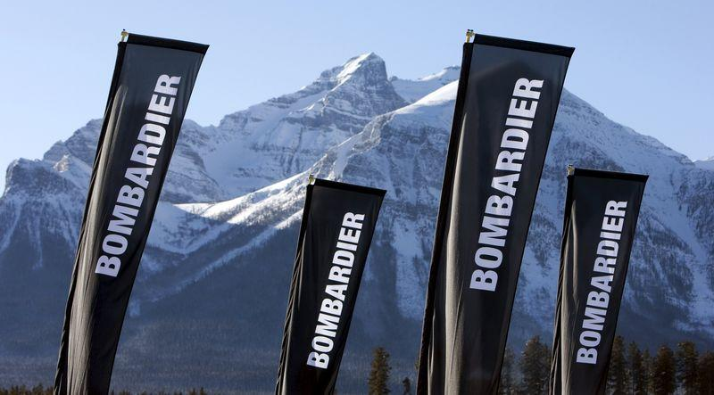 File photo of banners for the Canadian transportation manufacturer Bombardier in Lake Louise