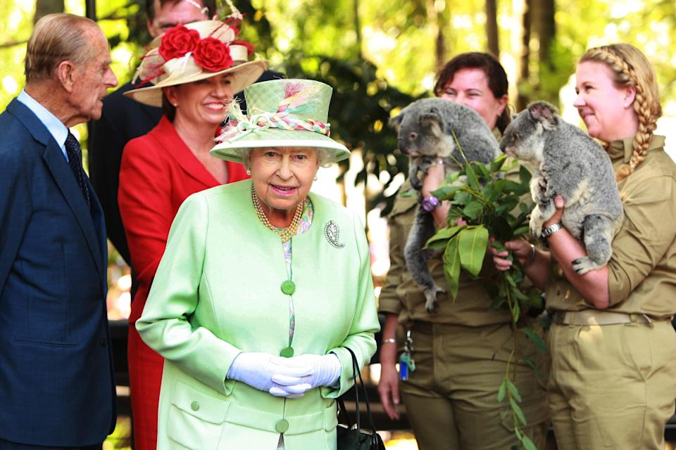 They were pictured cruising on the Brisbane River and meeting a koala in Southbank. Photo: Getty Images