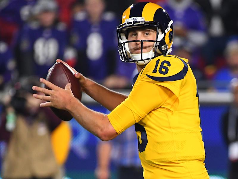 LOS ANGELES, CA - NOVEMBER 25: Jared Goff #16 of the Los Angeles Rams sets to pass in the game against the Baltimore Ravens at the Los Angeles Memorial Coliseum on November 25, 2019 in Los Angeles, California. (Photo by Jayne Kamin-Oncea/Getty Images)