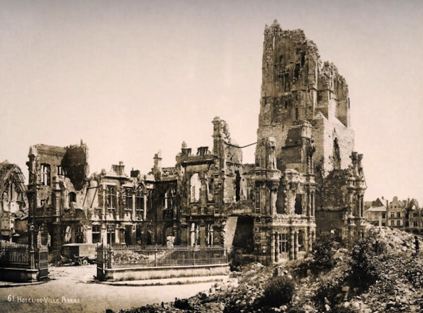 The remains of the Hotel de Ville at Arras in Northern France, photographed soon after the end of World War One, circa March 1919. This image is from a series documenting the damage and devastation that was caused to towns and villages along the Western Front in France and Belgium during the First World War. (Photo by Popperfoto/Getty Images)