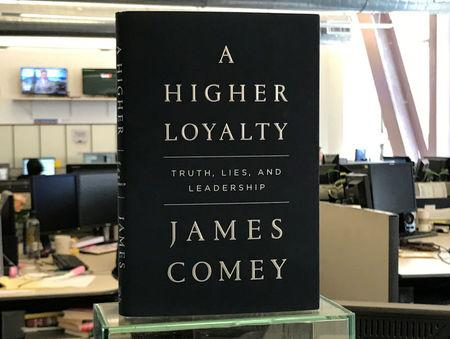 "A copy of former FBI director James Comey's book ""A Higher Loyalty"" is seen in New York City, New York, U.S. April 13, 2018.  REUTERS/Soren Larson"