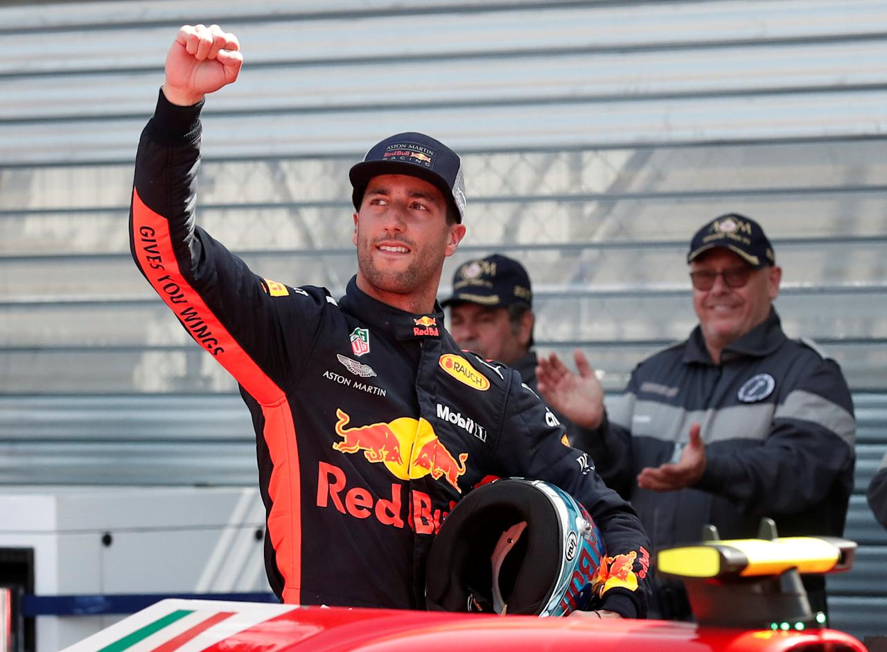 Motoracing - Formula One F1 - Monaco Grand Prix - Circuit de Monaco, Monte Carlo, Monaco - May 26, 2018   Red Bull's Daniel Ricciardo celebrates qualifying in pole position   REUTERS/Benoit Tessier