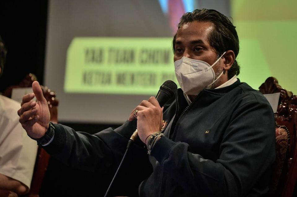 Health Minister Khairy Jamaluddin speaks during a media conference at Komtar, George Town September 11, 2021. — Bernama pic