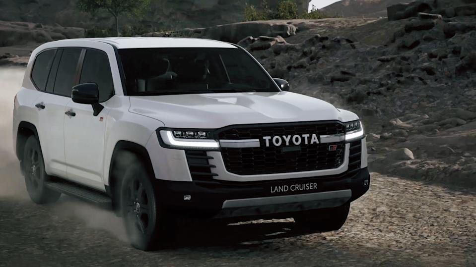 """<p>Toyota has today unveiled the newest generation of its legendary Land Cruiser SUV. The LC300-generation 2022 Land Cruiser, which will not be sold in North America, sits on an all new platform, gets new looks, and receives two twin-turbo V-6 engine options. </p><p><a class=""""link rapid-noclick-resp"""" href=""""https://www.roadandtrack.com/news/a36675569/2022-toyota-land-cruiser-lc300/"""" rel=""""nofollow noopener"""" target=""""_blank"""" data-ylk=""""slk:Read the full story right here"""">Read the full story right here</a></p>"""
