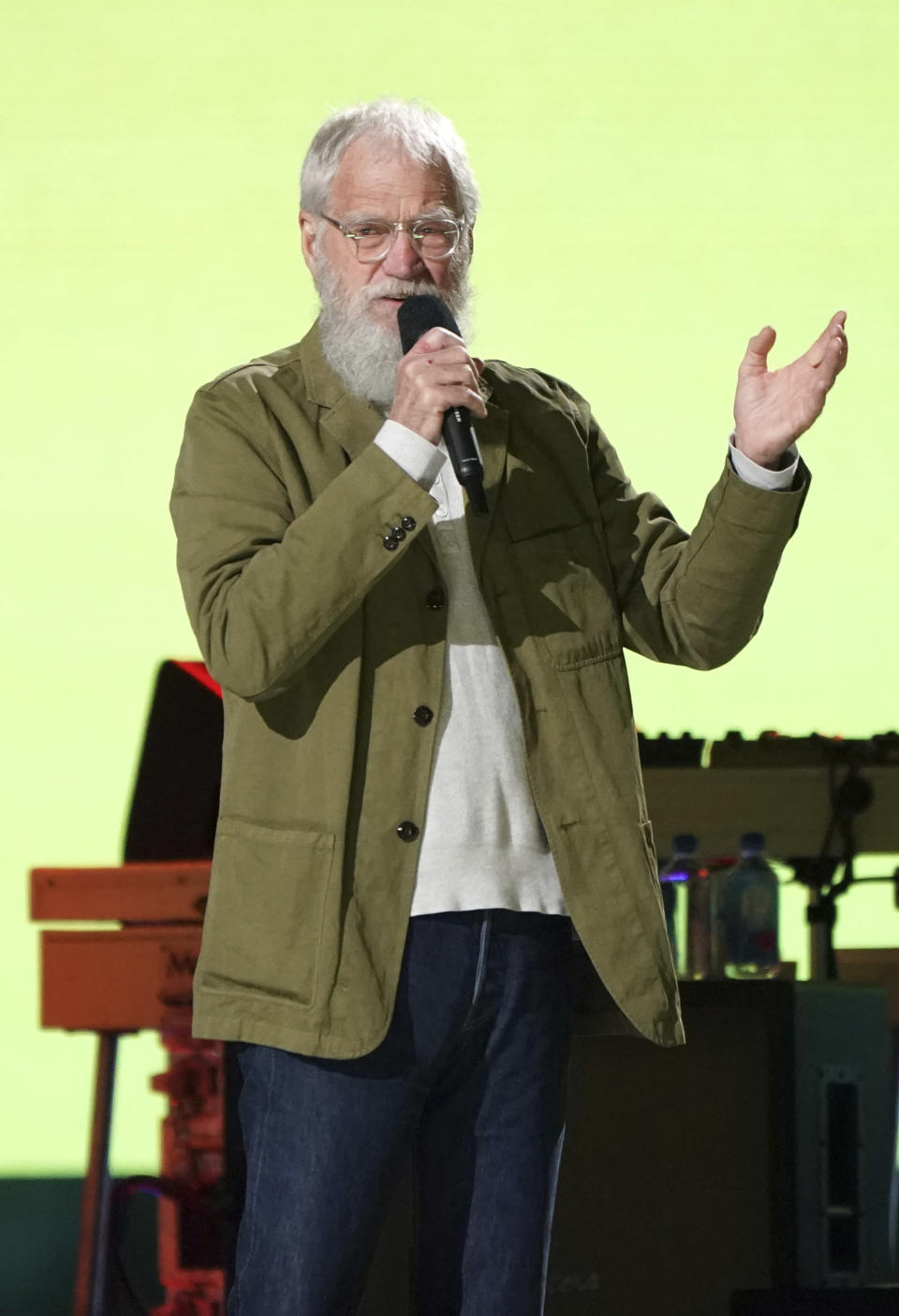"""David Letterman speaks at """"Vax Live: The Concert to Reunite the World"""" on Sunday, May 2, 2021, at SoFi Stadium in Inglewood, Calif. (Photo by Jordan Strauss/Invision/AP)"""