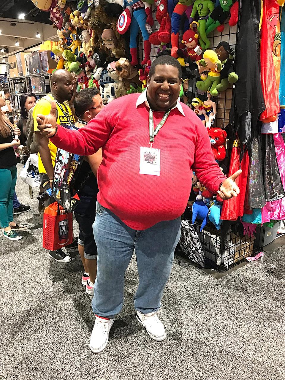 <p>Cosplayer dressed as Fat Albert from <i>Fat Albert</i> and the Cosby Kids at Comic-Con International on July 21, 2018, in San Diego. (Photo: Angela Kim/Yahoo Entertainment) </p>