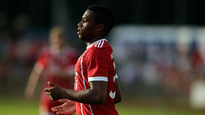 WOLFRATSHAUSEN, GERMANY - JULY 06: Franck Evina of Bayern celebrates after scoring his team's 4th goal during the preseason friendly match between BCF Wolfratshausen and Bayern Muenchen at on July 6, 2017 in Wolfratshausen, Germany. (Photo by Johannes Simon/Bongarts/Getty Images)