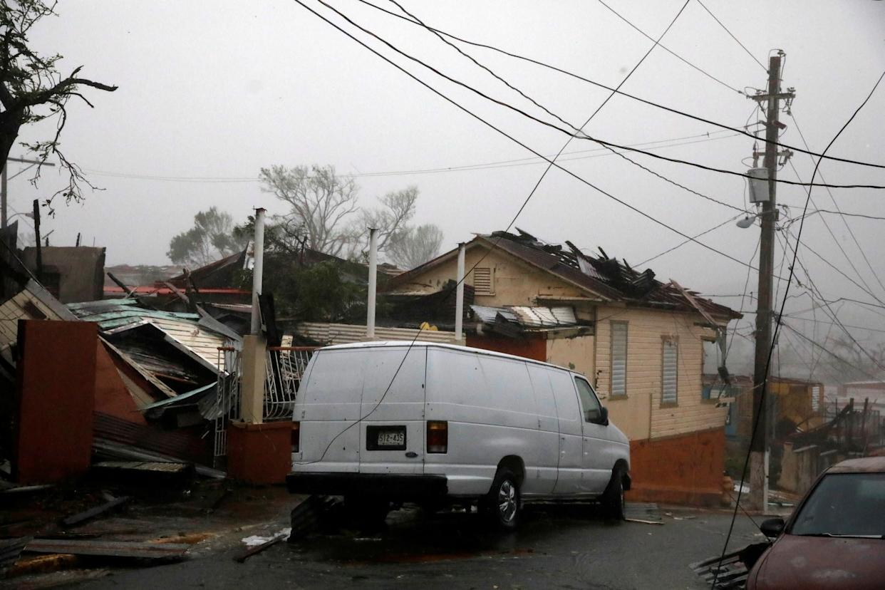 Damage is seen in Guayama, Puerto Rico.