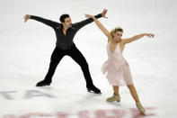 Madison Hubbell and Zachary Donohue perform during the free dance at the U.S. Figure Skating Championships, Saturday, Jan. 16, 2021, in Las Vegas. (AP Photo/John Locher)