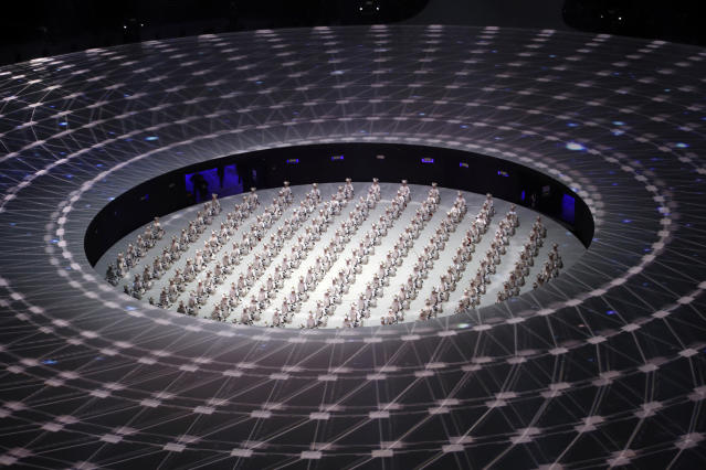 <p>Drummers perform during the opening ceremony of the 2018 Winter Olympics in Pyeongchang, South Korea, Friday, Feb. 9, 2018. (AP Photo/Charlie Riedel) </p>