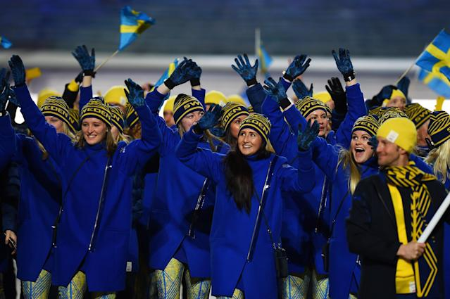 SOCHI, RUSSIA - FEBRUARY 07: The Sweden Olympic team enjoy the atmosphere during the Opening Ceremony of the Sochi 2014 Winter Olympics at Fisht Olympic Stadium on February 7, 2014 in Sochi, Russia. (Photo by Pascal Le Segretain/Getty Images)