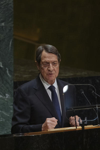 Cyprus' President Nicos Anastasiades speaks during the United Nations General Assembly at United Nations headquarters Thursday, Sept. 26, 2019. (AP Photo/Kevin Hagen)