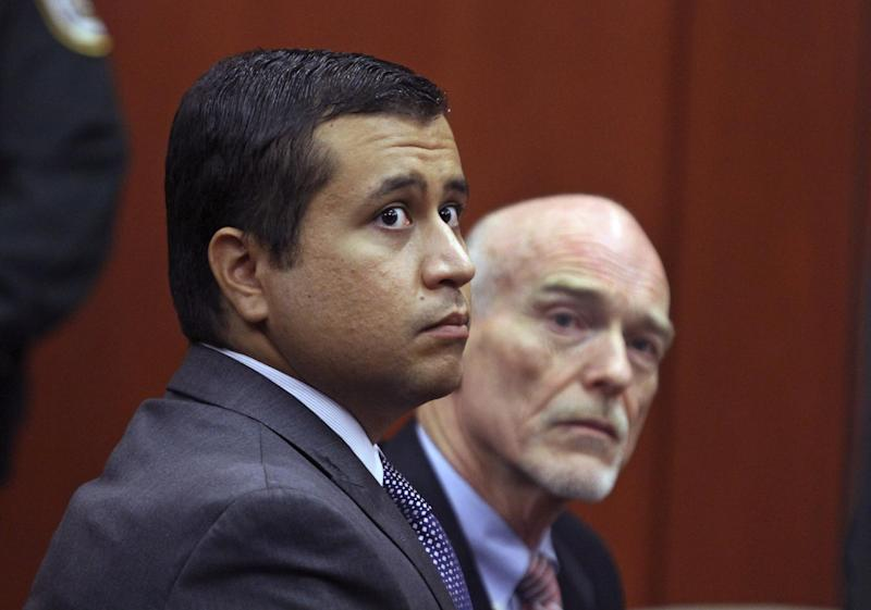FILE -In this Friday, June 29, 2012 file photo, George Zimmerman, left, and attorney Don West appear before Circuit Judge Kenneth R. Lester, Jr. during a bond hearing at the Seminole County Criminal Justice Center in Sanford, Fla. A Florida judge on Thursday, July 5, 2012, granted bond for a second time to George Zimmerman. Bail was set at $1 million. (AP Photo/Orlando Sentinel, Joe Burbank, Pool)