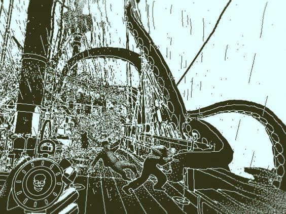 A ship is attacked by a beast from the deep in Lucas Pope's retro-inspired 'Return of the Obra Dinn' (3909 via MobyGames)