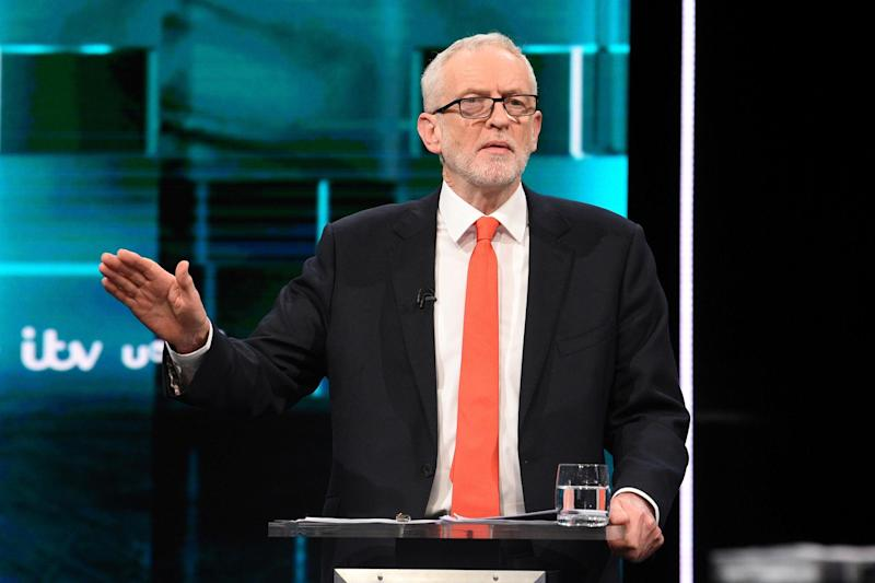 Labour leader Jeremy Corbyn speaks during the televised debate with Conservative leader Boris Johnson: via REUTERS