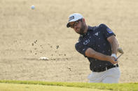 Corey Conners, of Canada, hits out of the bunker on the 10th hole during the second round of the PGA Championship golf tournament on the Ocean Course Friday, May 21, 2021, in Kiawah Island, S.C. (AP Photo/David J. Phillip)