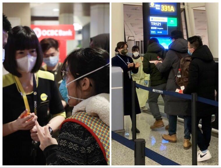 MFA and Scoot officers facilitating operations on ground (left), Singaporeans boarding the Scoot flight in Wuhan (right)