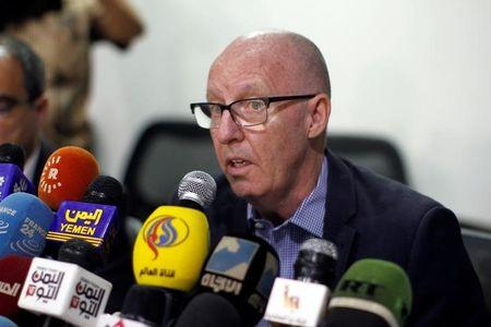 Jamie McGoldrick, United Nations Resident Coordinator for Yemen, speaks during a news conference at the United Nations building in Sanaa, Yemen