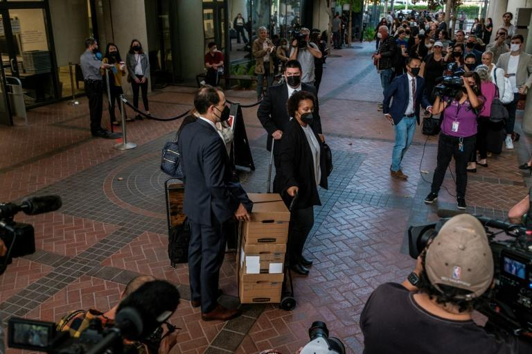 Lawyers arrive for the first day of the trial in San Jose, California (AFP/Nick Otto)