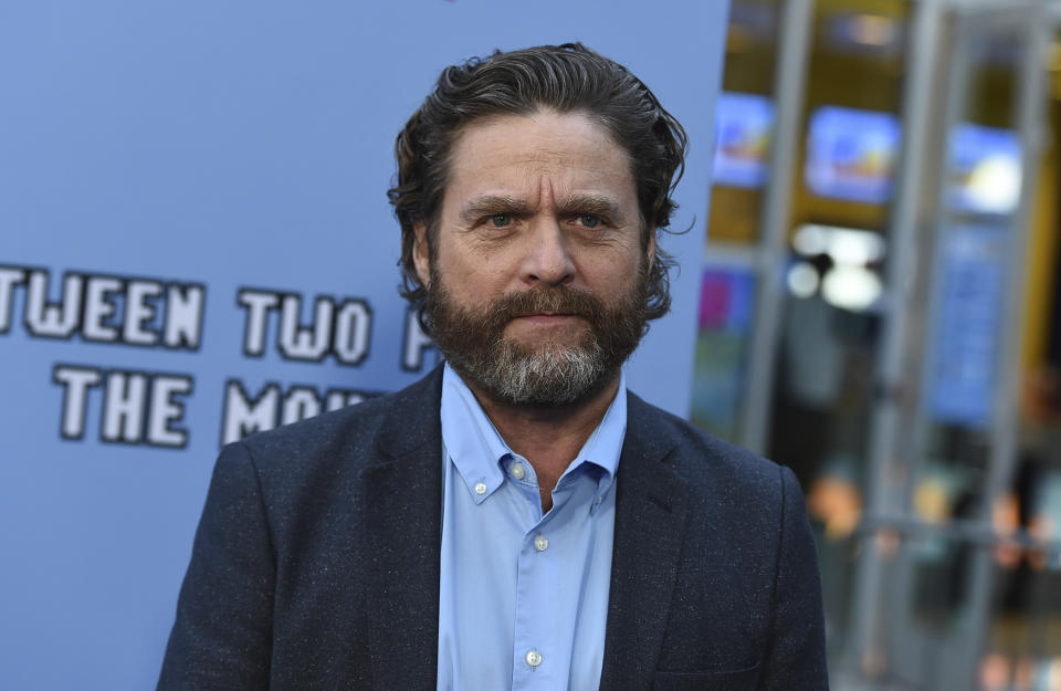 """Zach Galifianakis arrives at the Los Angeles premiere of """"Between Two Ferns: The Movie"""" at ArcLight Hollywood on Monday, Sept. 16, 2019. (Photo by Jordan Strauss/Invision/AP)"""