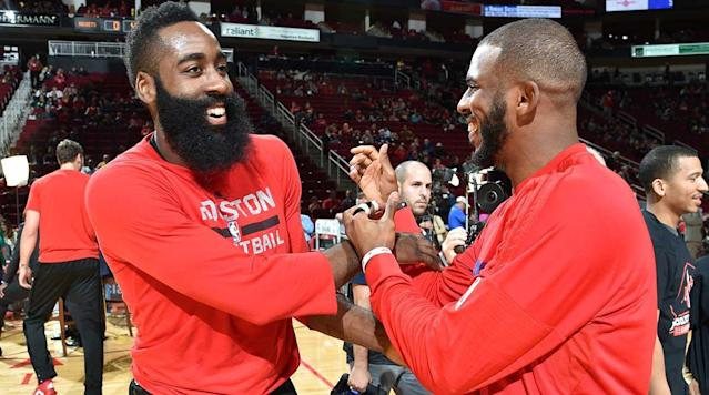 "James Harden and <a class=""link rapid-noclick-resp"" href=""/nba/players/3930/"" data-ylk=""slk:Chris Paul"">Chris Paul</a> make each other happy. (Getty Images)"