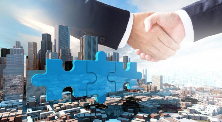 SPACs join company on puzzle pieces and handshake, 3d render
