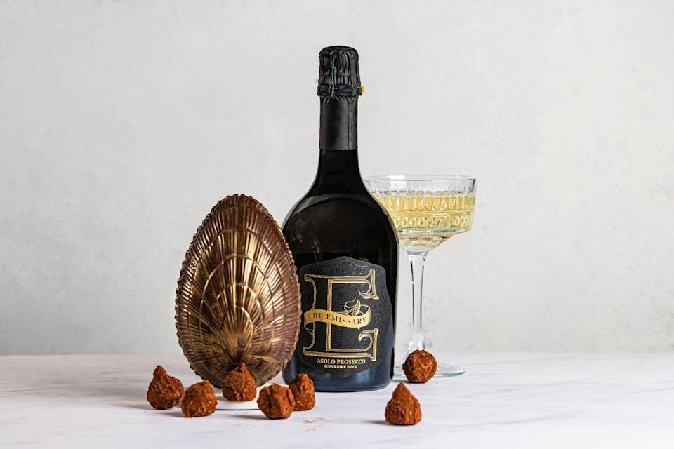 "<p>William Curley has created a thick, indulgent egg with the prosecco brand the Emissary. Spun using Amedei chocolate, a Tuscan family-run producer often praised as one of the best in the world, inside you'll find a selection of mango and passion fruit truffles infused with prosecco. It also comes with a bottle of the Emissary Asolo Prosecco Superiore. </p><p>£59 (available for pre-order only), <a href=""https://www.theemissary.co.uk/easteregg"" rel=""nofollow noopener"" target=""_blank"" data-ylk=""slk:The Emissary"" class=""link rapid-noclick-resp"">The Emissary</a>.</p><p><a class=""link rapid-noclick-resp"" href=""https://www.theemissary.co.uk/easteregg"" rel=""nofollow noopener"" target=""_blank"" data-ylk=""slk:SHOP NOW"">SHOP NOW</a><br></p>"