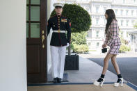 Singer Olivia Rodrigo arrives at the White House to promote the COVID-19 vaccine, Wednesday, July 14, 2021, in Washington. (AP Photo/Evan Vucci)