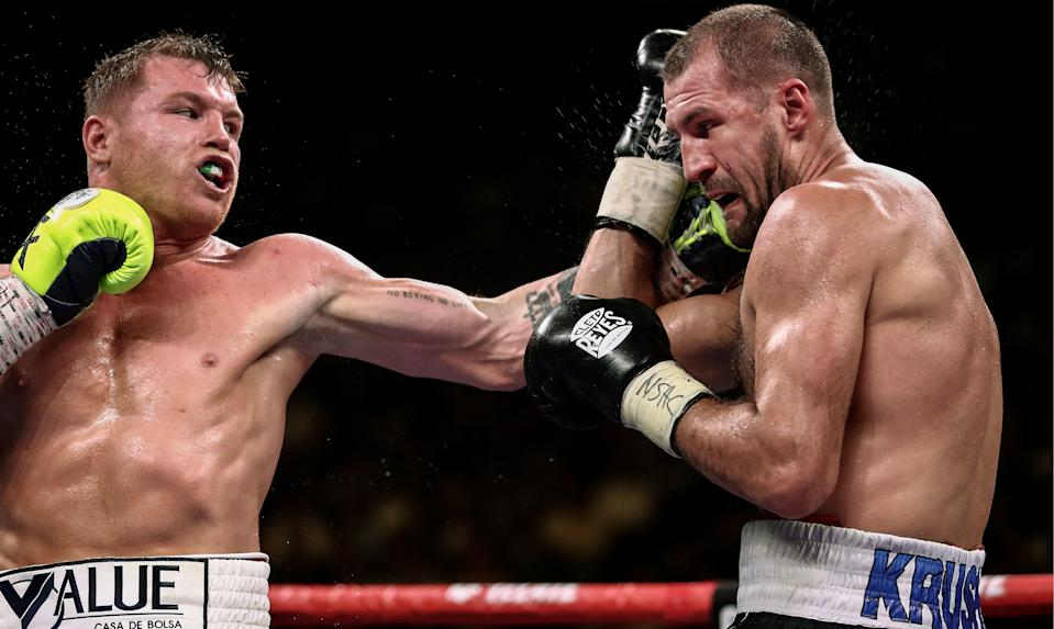 LAS VEGAS, NEVADA, UNITED STATES  NOVEMBER 2, 2019: Mexican boxer Saul «Canelo» Alvarez (L) and his Russian rival Sergey Kovalev struggle in their WBO light heavyweight title bout at MGM Grand Garden Arena. Valery Sharifulin/TASS (Photo by Valery Sharifulin\TASS via Getty Images)