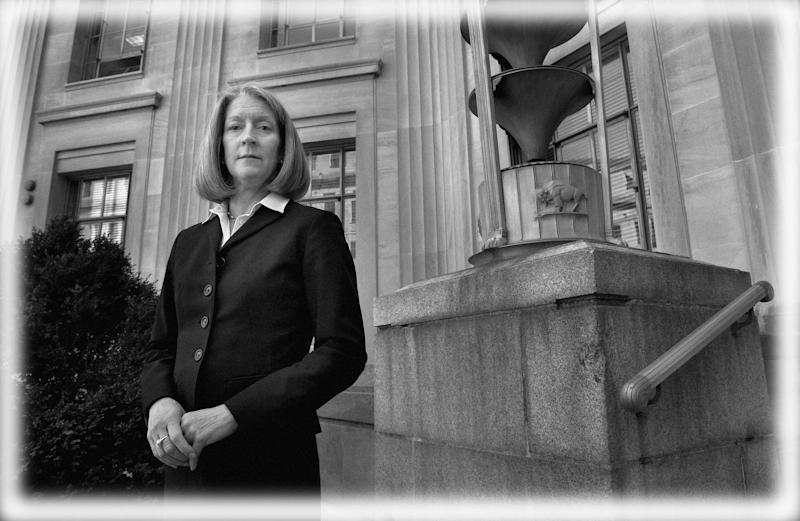 Mary McCord in the courtyard of the Department of Justice in Washington, D.C.in 2017. (Photo: Michael S. Williamson/The Washington Post via Getty Images; digitally enhanced by Yahoo News)