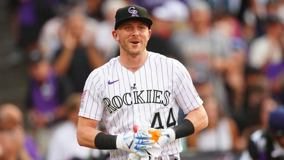 Colorado Rockies shortstop Trevor Story reacts during the 2021 MLB Home Run Derby.