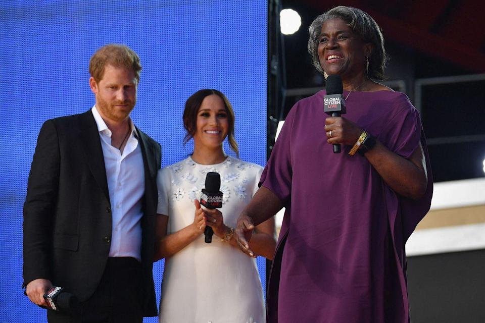 <p>Harry and Meghan looked on as US Ambassador to the United Nations, Linda Thomas-Greenfield, spoke at the Global Citizen Live festival.</p>