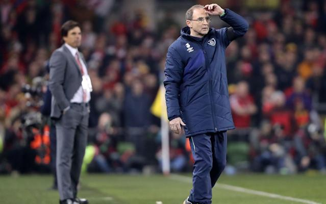 <span>Republic of Ireland manager Martin O'Neill (R) during the World Cup qualifier against Wales</span> <span>Credit: PA </span>