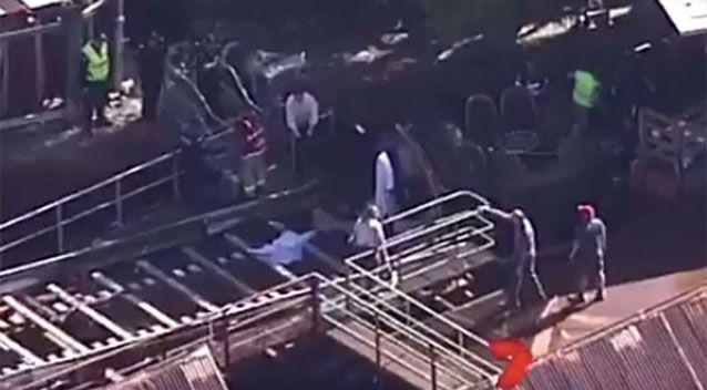 Emergency services at the Thunder River Rapids Ride. Image: 7 News