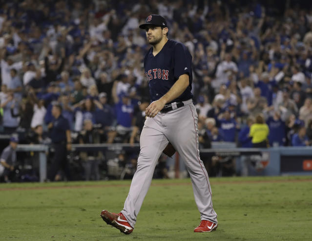 Starting pitcher and World Series hero Nathan Eovaldi has agreed to re-sign with the Boston Red Sox. (AP)