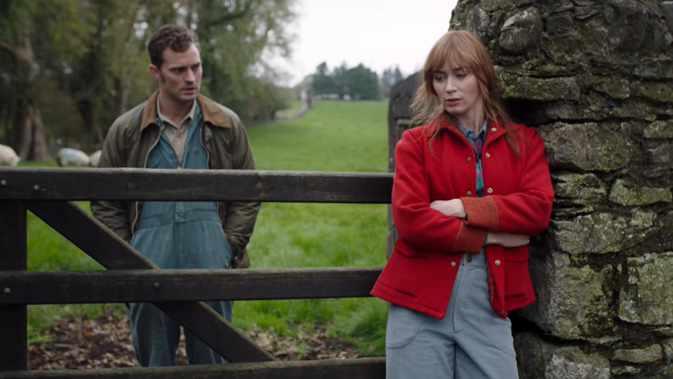 Jamie Dornan and Emily Blunt in the trailer for 'Wild Mountain Thyme'. (Credit: Lionsgate)