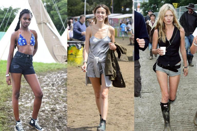 """There was a time when festival fashion was a slave to practicality: wear wellies to keep the mud off and waterproof jackets to stay dry – maybe splash some glitter on your cheeks for good measure.At least, it was until Kate Moss, Sienna Miller and Alexa Chung started going to Glastonbury, and soon turned the Pilton-based bacchanal into as much of a sartorial spectacle as a musical one.Vinyl trousers, low-hanging disc belts and slip dresses were the key staples, marking the beginning of the """"boho chic"""" trend that soon became synonymous with the aforementioned starlets. Elsewhere, Hunter wellies were paired with waistcoats and denim cut-offs, while leather jackets were thrown over just about everything you could think of.You only have to click through a few archive snaps to see just how different the Glastonbury aesthetic from the days of yore was from the glossy sheen of glitter, neon and sequins you see at festivals now.Unlike the sprightly-clothed crowd at Coachella – whose California sunshine lends itself to tropical prints and tie-dye – the early noughties Glastonbury attendee favoured a more muted sartorial palette, predicated by grungy khakis and distressed denims.From those famous snaps of Moss with former boyfriend Pete Doherty to more recent, but no less notable, contributions from Daisy Lowe, Edie Campbell and Adwoa Aboah, browse through the best looks from Glastonbury over the years by clicking through the gallery above."""