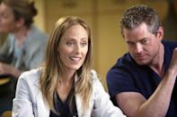 <p>Kim Raver joined the <em>Grey's </em>cast for the first time in season 6, as Teddy Altman, a cardio surgeon and military veteran who shares a deep history with Cristina Yang's love interest Owen Hunt. </p>