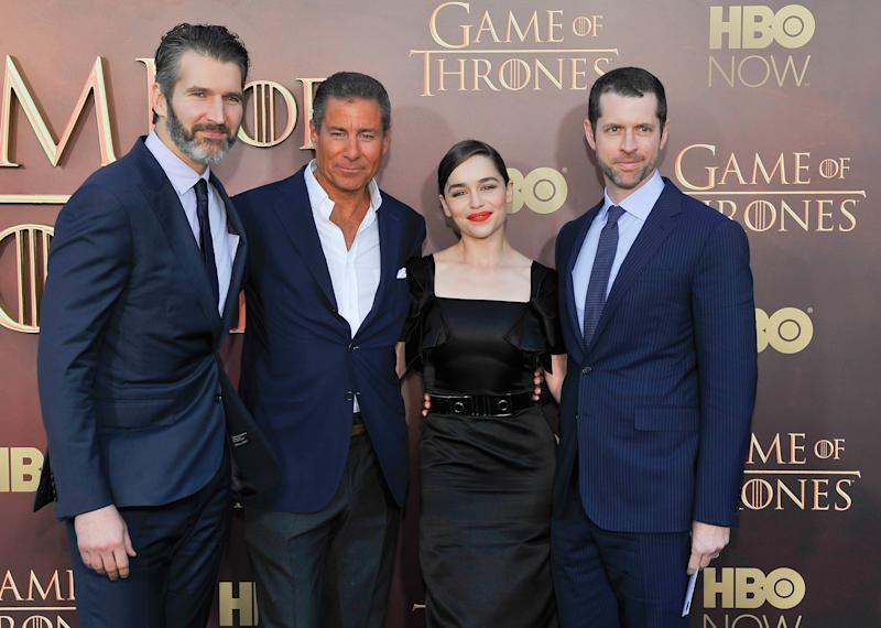 "SAN FRANCISCO, CA - MARCH 23: (L-R) David Benioff, Richard Plepler, Emilia Clarke and Dan Weiss attend HBO's ""Game Of Thrones"" Season 5 San Francisco Premiere at San Francisco Opera House on March 23, 2015 in San Francisco, California. (Photo by Steve Jennings/WireImage)"