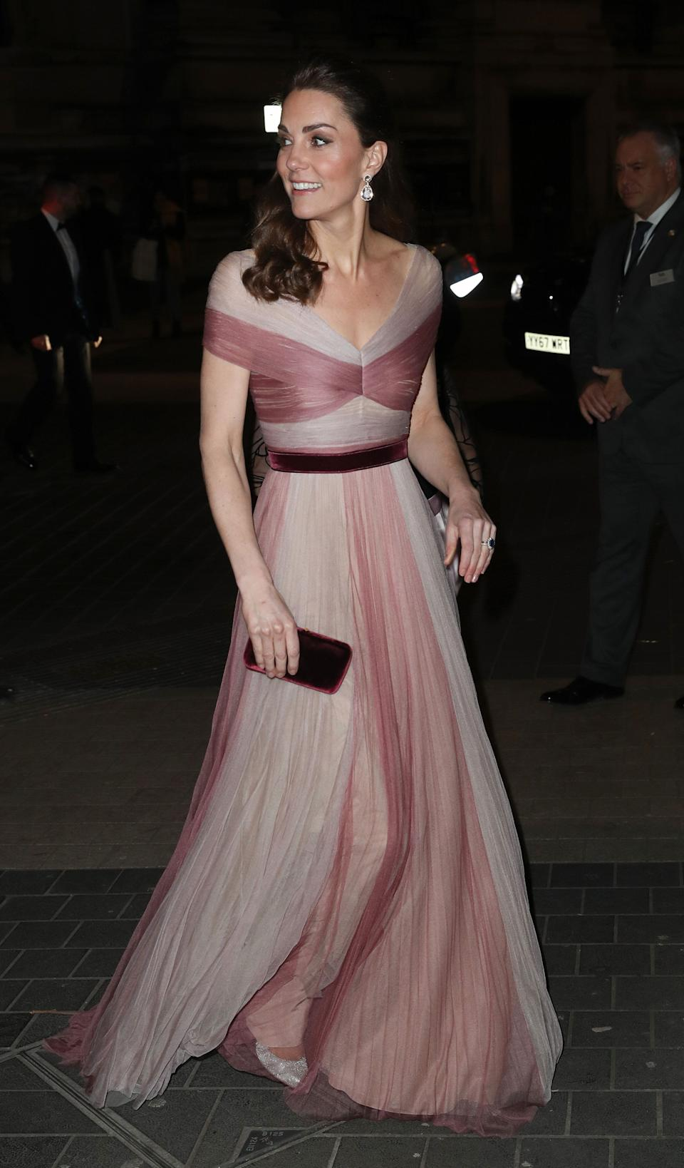 Kate attends a gala dinner in aid of 'Mentally Healthy Schools' at London's Victoria and Albert Museum on Feb. 13.