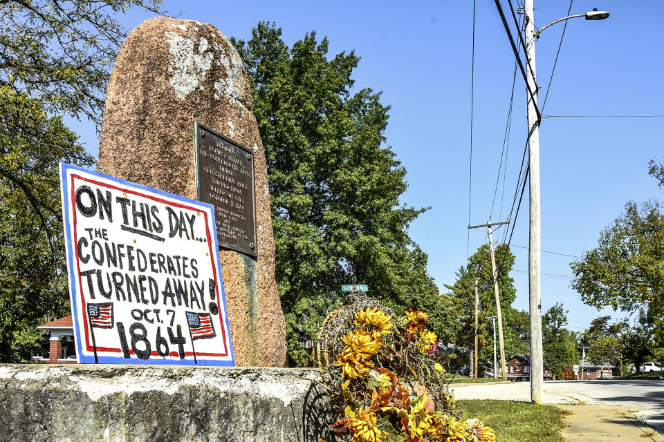 "A Civil War monument sits on Moreau Drive Wednesday, Oct 7, 2020, with a sign that reads ""On this day the Confederates turned away Oct. 7, 1864"" marking the anniversary of the event in Jefferson City, Missouri. The City Council in Missouri's capital has voted to remove the marker that has been the center of controversy in the city for four months which is dedicated to Confederate Gen. Sterling Price. The marker states that Price had planned to attack Jefferson City in October 1874 but eventually bypassed the city. (Julie Smith/The Jefferson City News-Tribune via AP)"