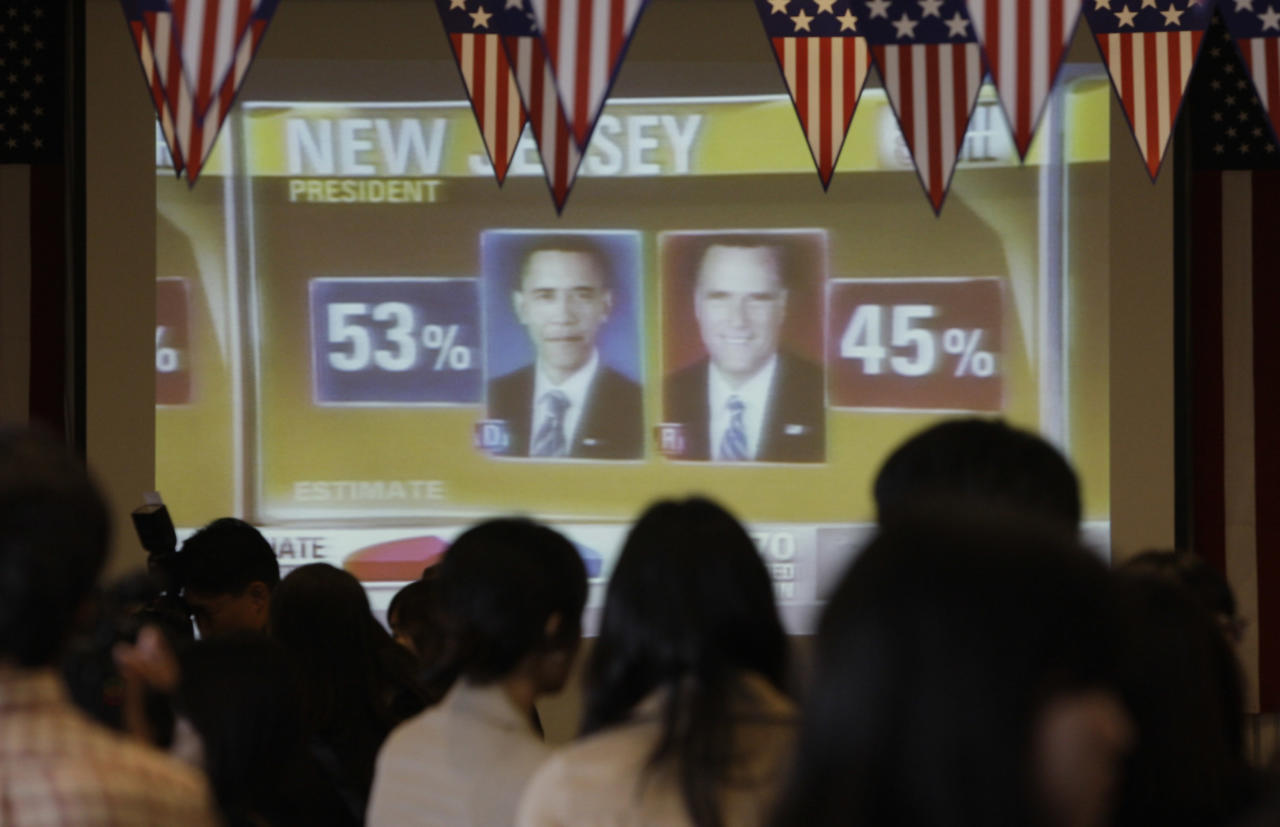 SEOUL, SOUTH KOREA - NOVEMBER 07:  South Koreans watch an election broadcast on television on November 7, 2012 in Seoul, South Korea. South Koreans and Americans have been paying close attention to the U.S. presidential race between U.S. President Barack Obama and Republican presidential candidate, former Massachusetts Gov. Mitt Romney.  (Photo by Chung Sung-Jun/Getty Images)