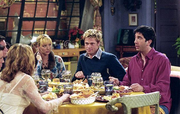 Brad joined Jen and Courteney for a guest appearance on Friends in 2001. Source: Getty